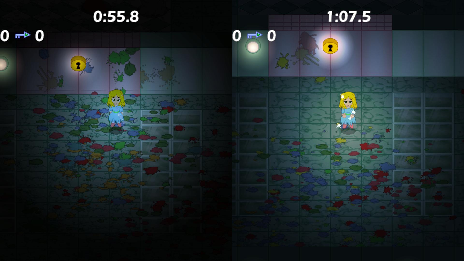 Left: Old lighting using multiply blending | Right: New lighting using overlay blending